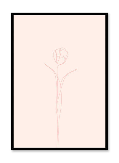 Modern minimalist poster by Opposite Wall with abstract illustration of Tulip in pink