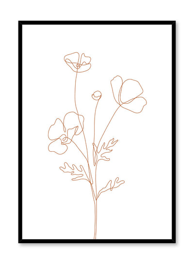 Minimalist design poster by Opposite Wall with line art drawing of poppy with orange lines