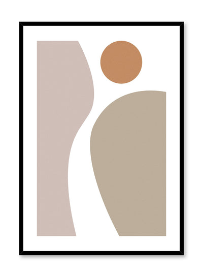 Minimalist design poster by Opposite Wall with abstract curved shapes, Movement poster in Beige