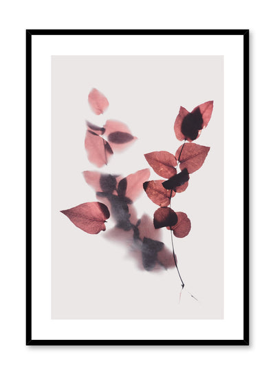 Modern minimalist botanical photography print by Opposite Wall with Leaves in Merlot