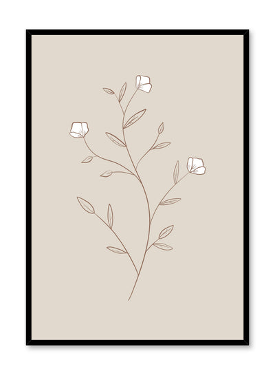 Modern minimalist botanical illustration poster by Opposite Wall with White Petals