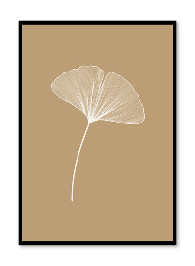 Modern minimalist botanical illustration poster by Opposite Wall with Ginkgo Leaf