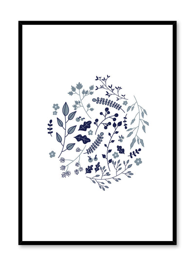 Modern minimalist botanical illustration poster by Opposite Wall with blue plants