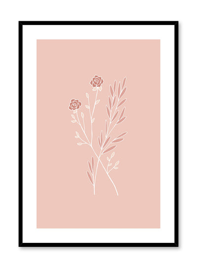 Modern minimalist botanical illustration poster by Opposite Wall with Star-Crossed plants in pink