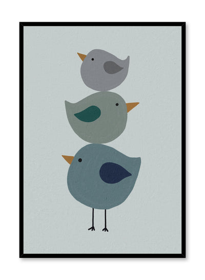 Kids nursery painting poster by Opposite Wall with trio of birds