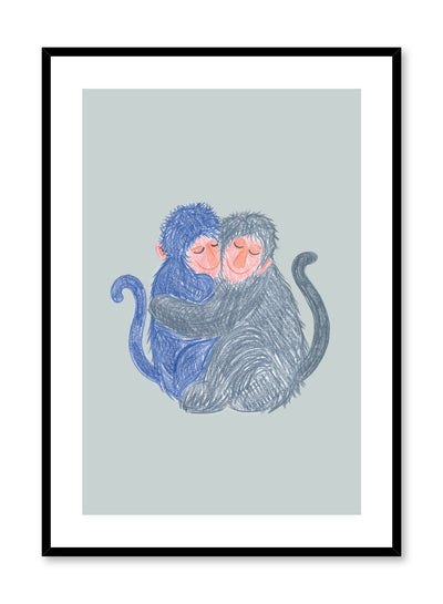 Kids nursery illustration poster by Opposite Wall with hugging monkeys