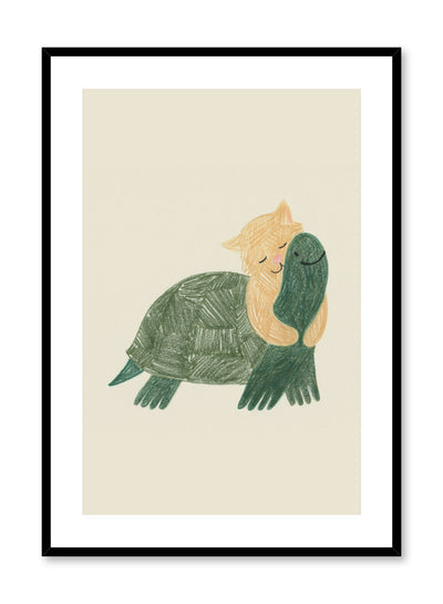 Kids nursery illustration poster by Opposite Wall with tortoise and cat hugging