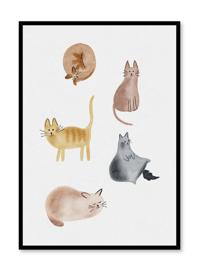 Kids nursery poster by Opposite Wall with watercolour cats illustration