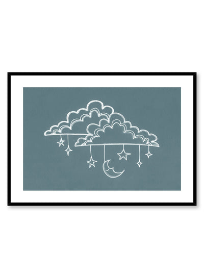 Kids nursery illustration poster by Opposite Wall with sleepy clouds