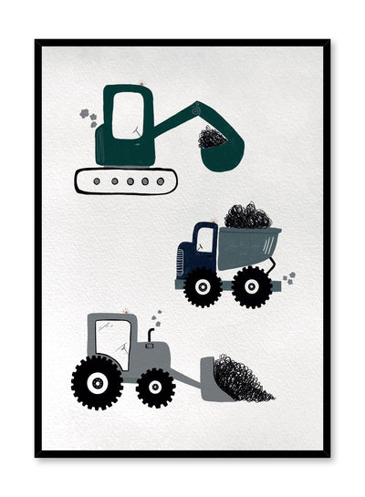 Kids nursery poster by Opposite Wall with construction trucks drawing
