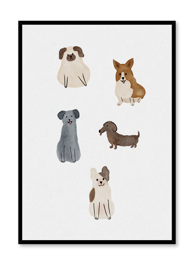 Kids nursery poster by Opposite Wall with watercolour dogs