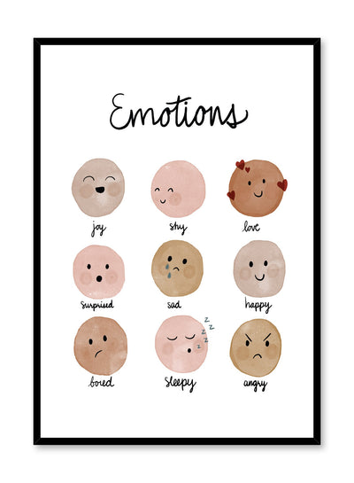 Kids nursery poster by Opposite Wall with facial emotions watercolours