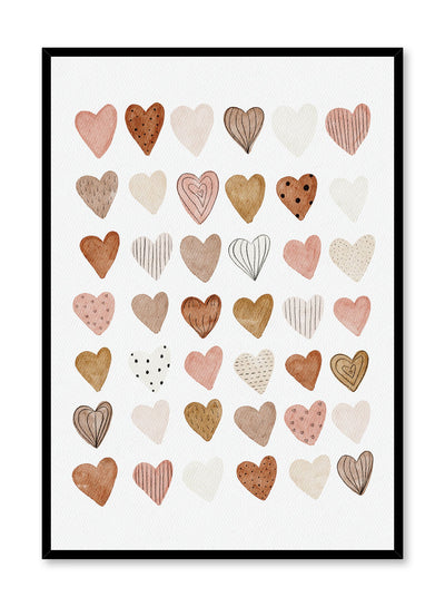 Kids nursery poster by Opposite Wall with watercolour hearts