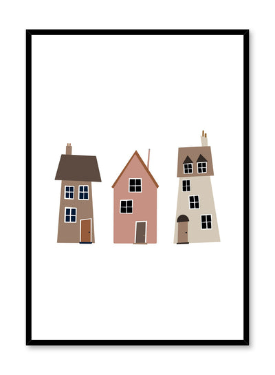 Kids nursery poster by Opposite Wall with trio of houses illustration