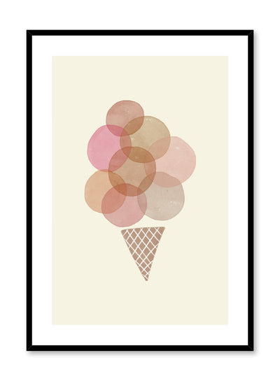 Kids nursery poster by Opposite Wall with watercolour illustration of ice cream cone