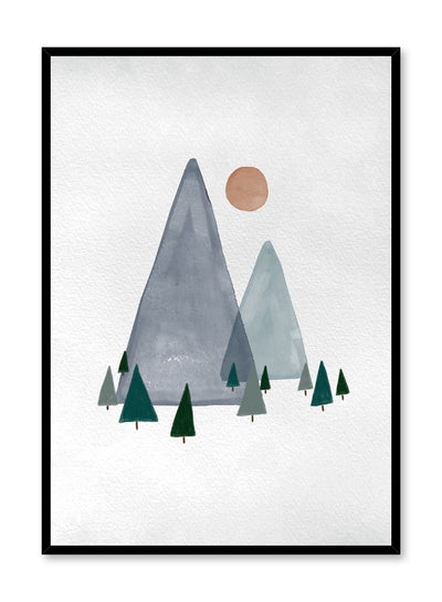 Kids nursery illustration poster by Opposite Wall with watercolour mountains