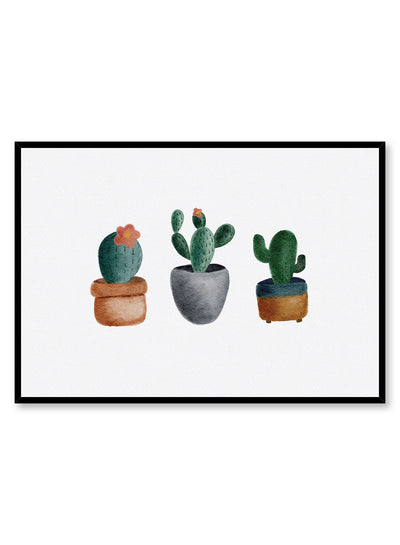 Kids nursery poster by Opposite Wall with watercolour of cactus succulents
