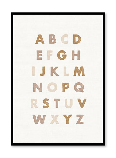 Kids nursery poster by Opposite Wall with Alphabet in Beige watercolour