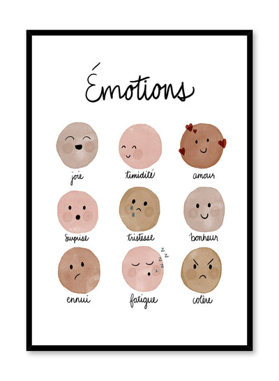 Kids nursery poster by Opposite Wall with facial emotions watercolours in French