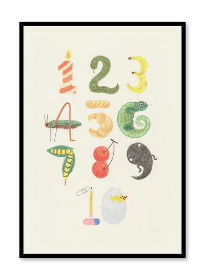 Kids nursery poster by Opposite Wall with numbers in nature drawing