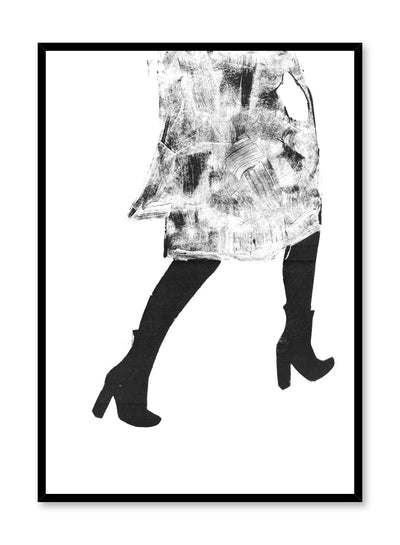 Black and white fashion illustration poster by Opposite Wall with woman walking in heels