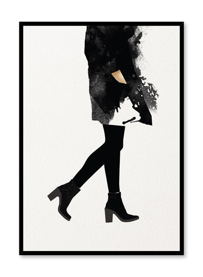 Fashion illustration poster by Opposite Wall with woman in black walking in heels