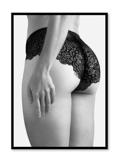 Black and white fashion photography poster by Opposite Wall with woman posterior in lacy underwear