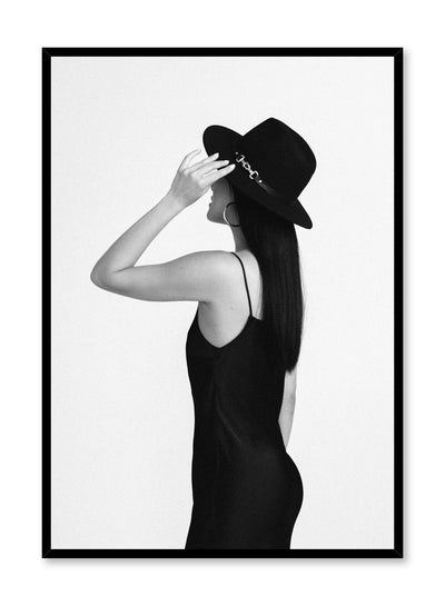 Black and white fashion photography poster by Opposite Wall with woman in fashionable outfit