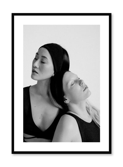 Black and white fashion photography poster by Opposite Wall with woman leaning on each other