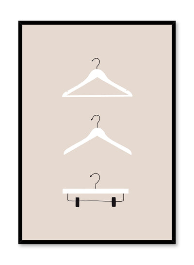 Fashion illustration poster by Opposite Wall with trio of clothes hangers