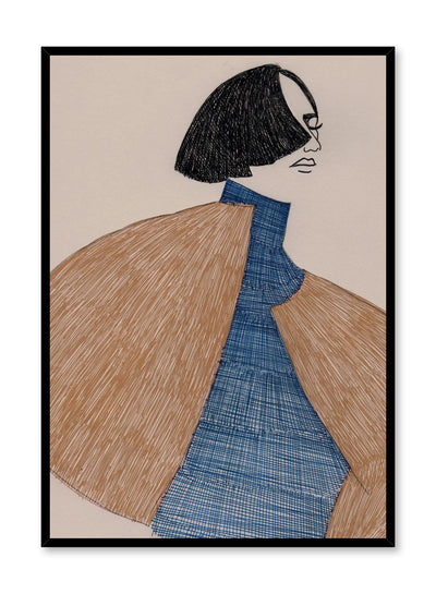 Fashion illustration poster by Opposite Wall with androgynous fashion in ballpoint pen