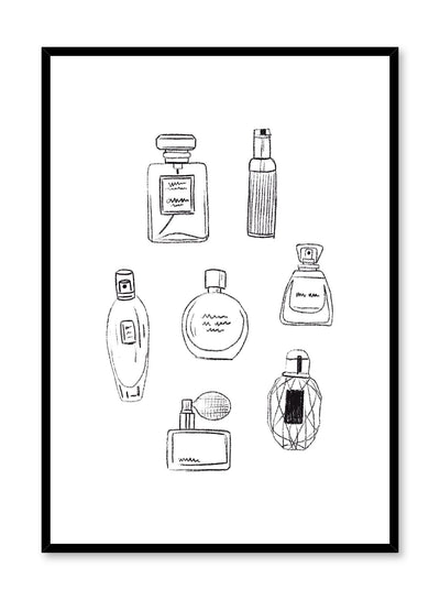 Fashion illustration poster by Opposite Wall with group of perfume bottles