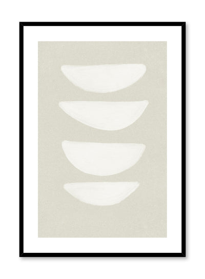 Modern abstract illustration poster by Opposite Wall with stacked bowl shapes on beige by Toffie Affichiste