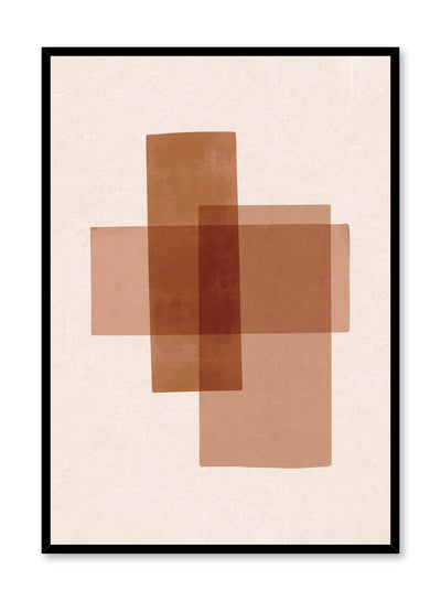 Modern abstract poster by Opposite Wall with overlapping rectangles in brown by Toffie Affichiste