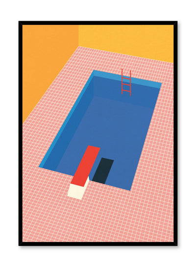Minimalist pop art paper illustration by German artist Rosi Feist with pool and diving board