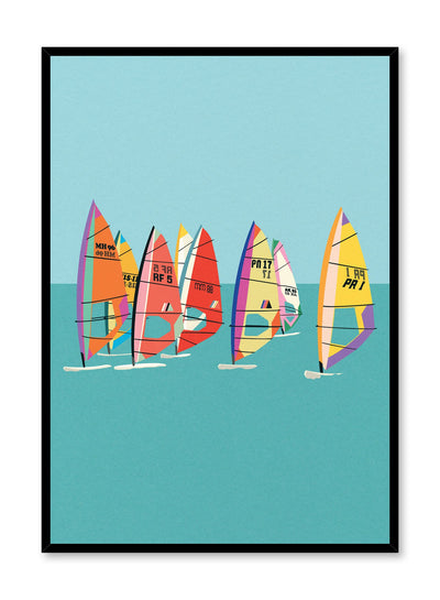 Minimalist pop art paper illustration by German artist Rosi Feist with windsurfers on water