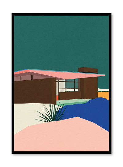 Minimalist pop art paper illustration by German artist Rosi Feist with Edris House in Palm Springs