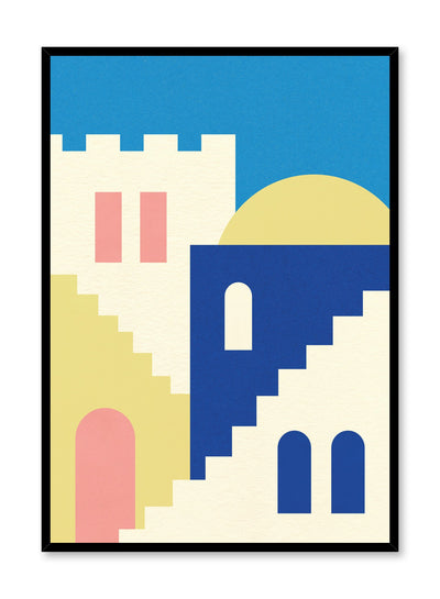 Minimalist pop art paper illustration by German artist Rosi Feist with stairs and architecture of Morocco