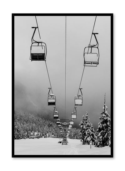 Landscape photography poster by Opposite Wall with snow and ski lift in black and white