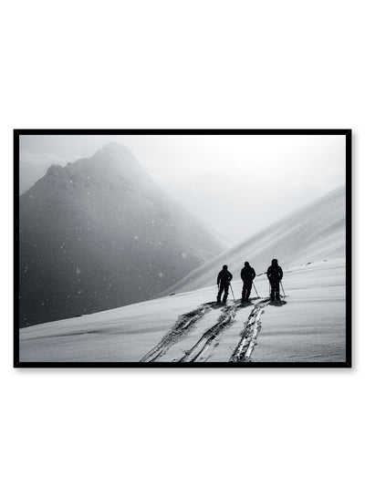 Landscape photography poster by Opposite Wall with snow and and people hiking in black and white