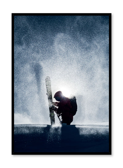 Landscape photography poster by Opposite Wall with falling snow and portrait of skiier
