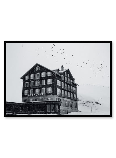 Landscape photography poster by Opposite Wall with mountain chalet in black and white