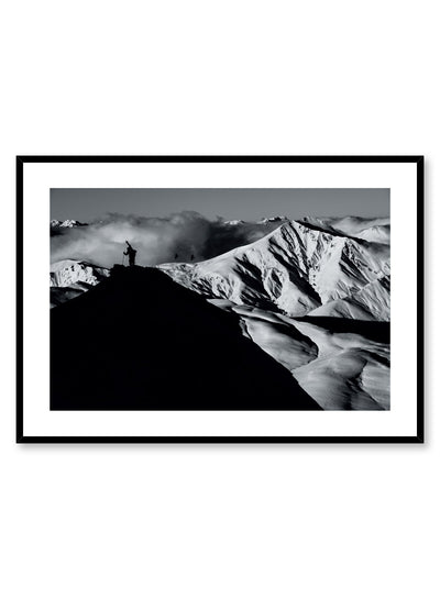Landscape photography poster by Opposite Wall with hiker standing on top of mountain