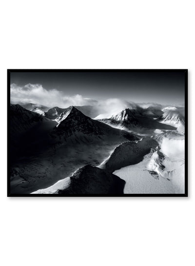 Landscape photography poster by Opposite Wall with mountain peaks in black and white