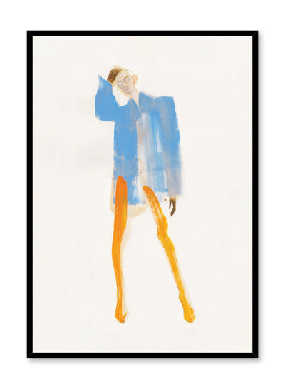Minimalist painting by Opposite Wall of an androginous model wearing an orange and blue Balenciaga outfit by fashion illustrator Amelie Hegardt.