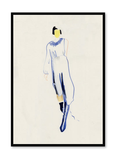 Minimalist fashion print by Opposite Wall of a feminine model wearing a flowy white dress, tall navy boots and an edgy black pixie cut with a white flower in her hair.