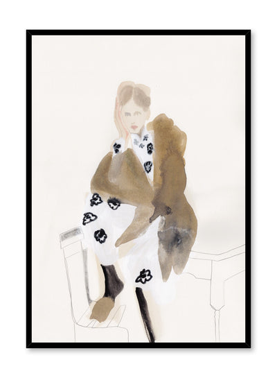 Fashion painting by Opposite Wall of a woman sitting on a kitchen table wearing a black and white floral dress and a brown fur coat.