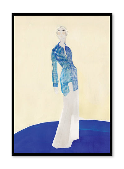 Fashion illustration poster by Opposite Wall of a minimalist female model wearing a blue button-down shirt and white bell-bottom pants.