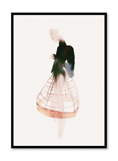 Fashion painting by Opposite Wall of a stylish woman wearing a black turtleneck shirt and a see-through crinoline skirt.