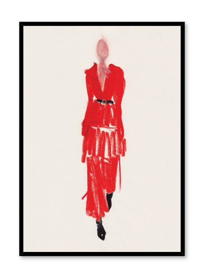 Abstract fashion print by Opposite Wall of a minimalist model wearing a stunning long-sleeved red dress with a black belt and black shoes.